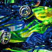 Glass Macro - Seahawks Blue And Green -13e4 Art Print by David Patterson