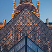 Glass Pyramid At Musee Du Louvre Art Print