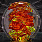 Glass Sculpture - Fire - 13r1 Art Print