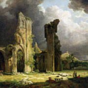 Glastonbury Abbey With The Tor Art Print