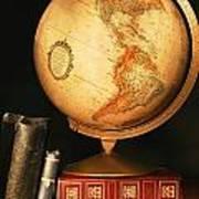 Globe And Books Print by Don Hammond