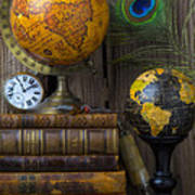 Globes And Old Books Art Print