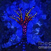 Glow Tree Blue Art Print