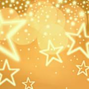 Glowing Background With Stars, Studio Art Print