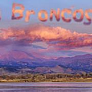 Go Broncos Colorado Front Range Longs Moon Sunrise Art Print