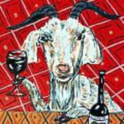 Goat At The Wine Tasting Art Print by Jay  Schmetz