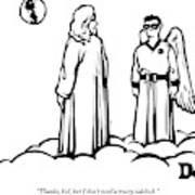God Overlooks Earth Next To A Robin-like Angel Art Print
