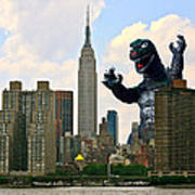 Godzilla And The Empire State Building Art Print by William Patrick