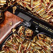 Gold 9mm Beretta With Brass Ammo Art Print