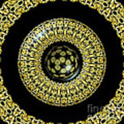 Gold And Black Stained Glass Kaleidoscope Under Glass Art Print
