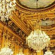 Gold Ceiling And Chandeliers Art Print