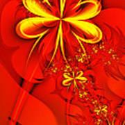 Gold Flowers Art Print