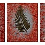 Gold Leaves On Orange Triptych Art Print