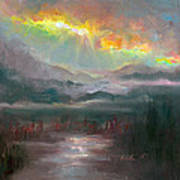 Gold Lining - Chugach Mountain Range En Plein Air Art Print