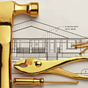 Gold Plated Tools And Blueprints Art Print