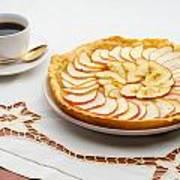 Golden Apple Tart And Coffee Cup Art Print