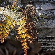 Golden Autumn Fern Art Print