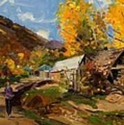 Golden Autumn In Vithkuq Korce Art Print