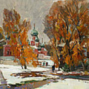 Golden Autumn Under Snow Art Print