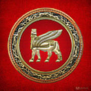 Golden Babylonian Winged Bull  Art Print