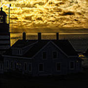 Golden Backlit West Quoddy Head Lighthouse Art Print