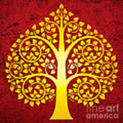 Golden Bodhi Tree No.1 Art Print