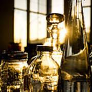 Golden Bottles And Mason Jars Art Print