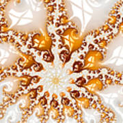 Golden Brown And White Luxe Abstract Art Art Print