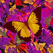 Golden Butterfly Painting Art Print