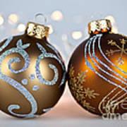 Golden Christmas Ornaments Art Print
