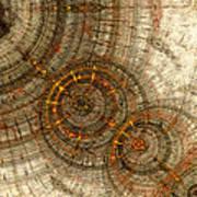 Golden Cogwheels Art Print