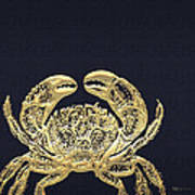 Golden Crab On Charcoal Black Art Print