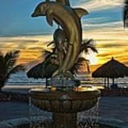 Golden Dolphins  Art Print