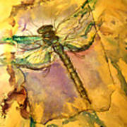 Golden Dragonfly Art Print by M C Sturman