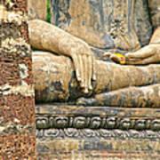 Golden Fingernails On Sitting Buddha At Wat Mahathat In Sukhothai Historical Park-thailand Art Print