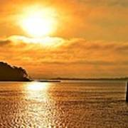 Golden Foggy Sunrise Colors On Santa Rosa Sound At Hurlburt Harbor Art Print