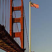 Golden Gate And American Flag Art Print