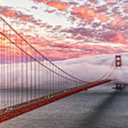 Golden Gate Bridge Sunset Evening Commute Art Print