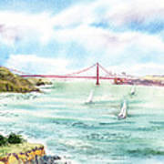 Golden Gate Bridge View From Point Bonita Print by Irina Sztukowski