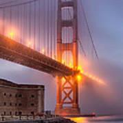 Golden Gate In Fog Art Print