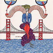 Golden Gate Lady And Wine Art Print