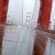 Golden Gate Rain Art Print