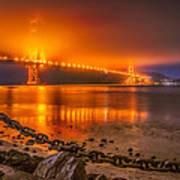 Golden Golden Gate Bridge  Art Print