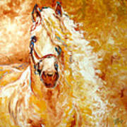 Golden Grace Equine Abstract Art Print by Marcia Baldwin