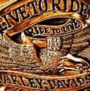 Golden Harley Davidson Logo Art Print