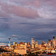 Golden Hour Reflected On Downtown Seattle And Space Needle - Seattle Washignton State Art Print