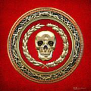 Golden Human Skull On Red   Art Print