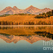 Golden Mountains  Reflection Art Print