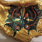 Golden Nugget Bird's Eye Butterfly On An Oyster Shell Art Print