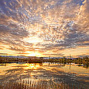 Golden Ponds Scenic Sunset Reflections 2 Art Print